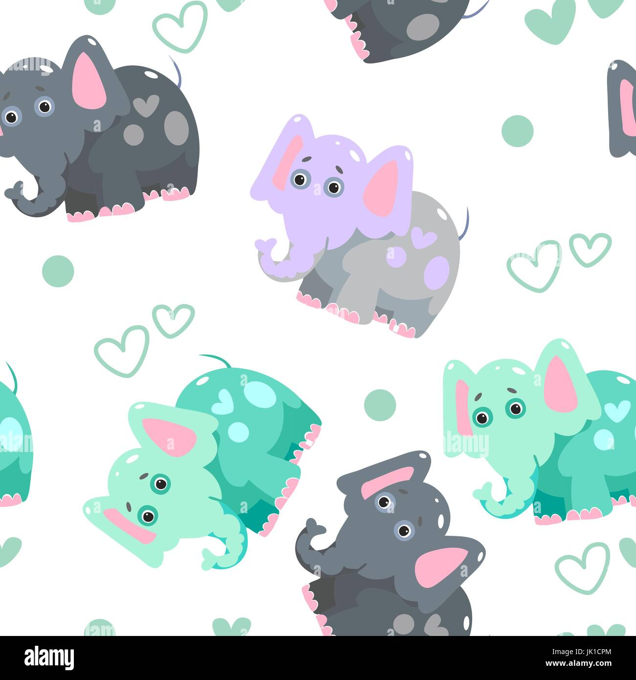 Texture of cheerful colorful elephants and hearts  Fantasy pattern