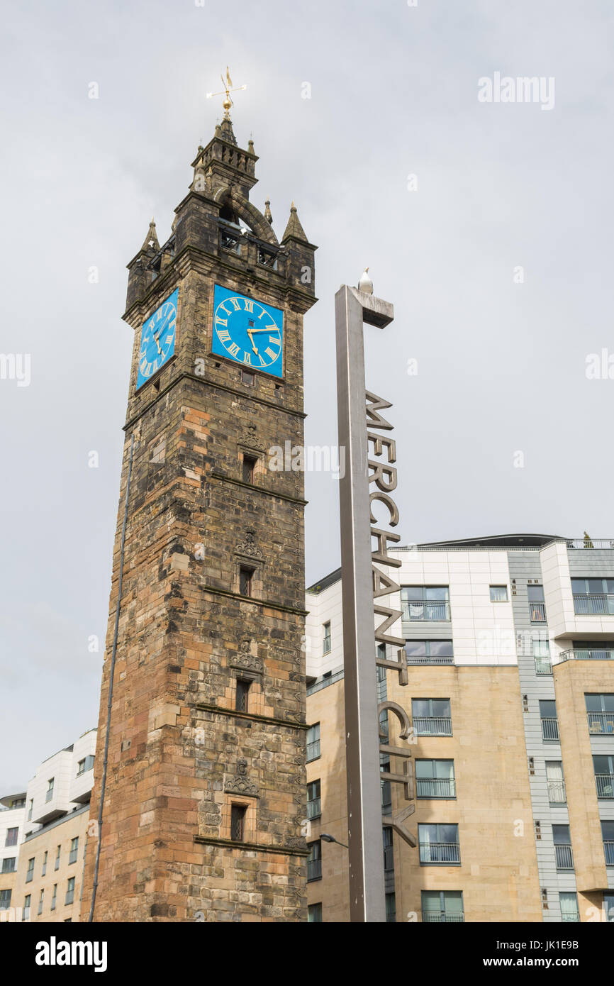Tolbooth Steeple, Glasgow Cross, Merchant City, Glasgow, Scotland, UK - Stock Image