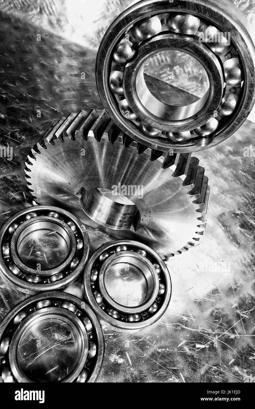 Aerospace gears and bearings made of titanium and steel. - Stock Image