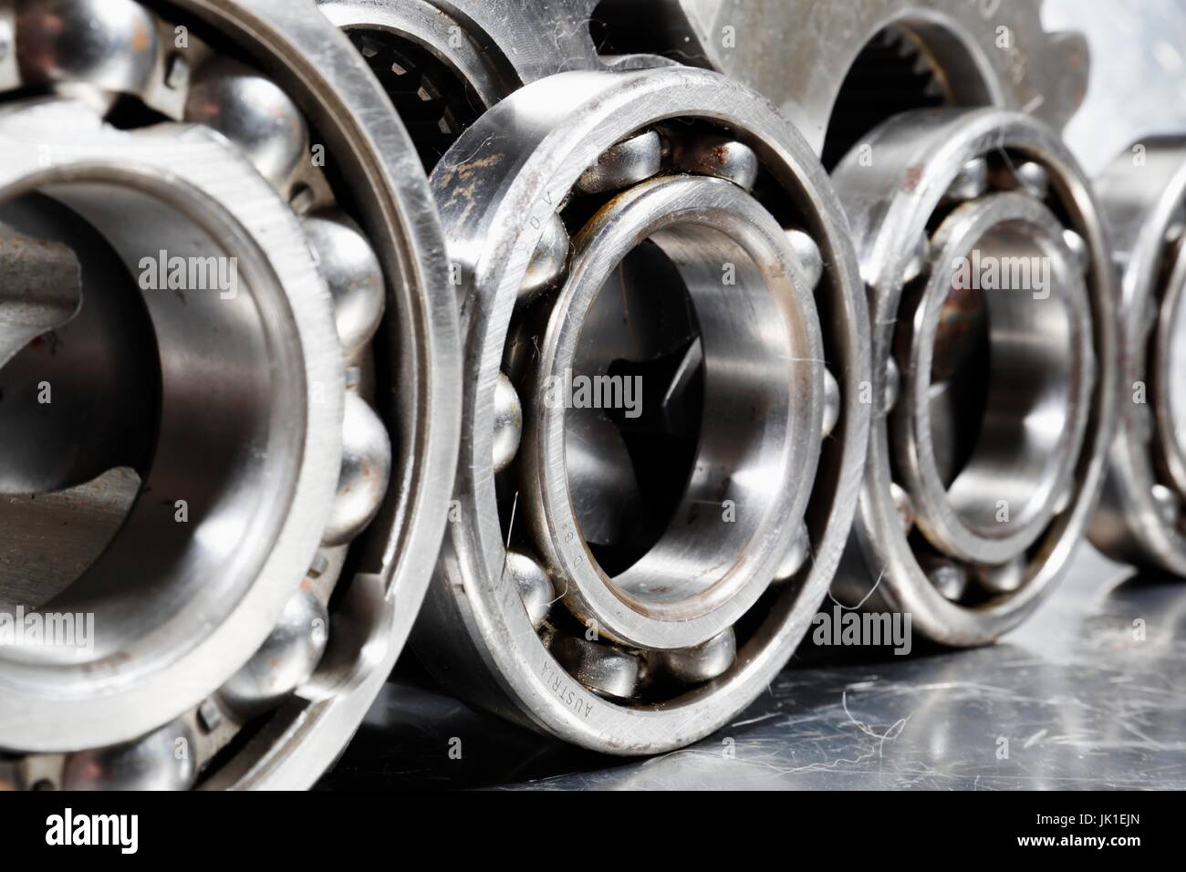 Ball-bearings and pinions made of titanium for the Aerospace industry. - Stock Image