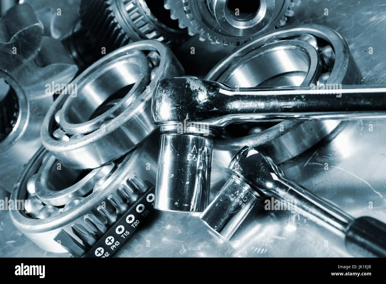 Spanners and wrenches with gears and ball-bearings,slight blue toning. - Stock Image