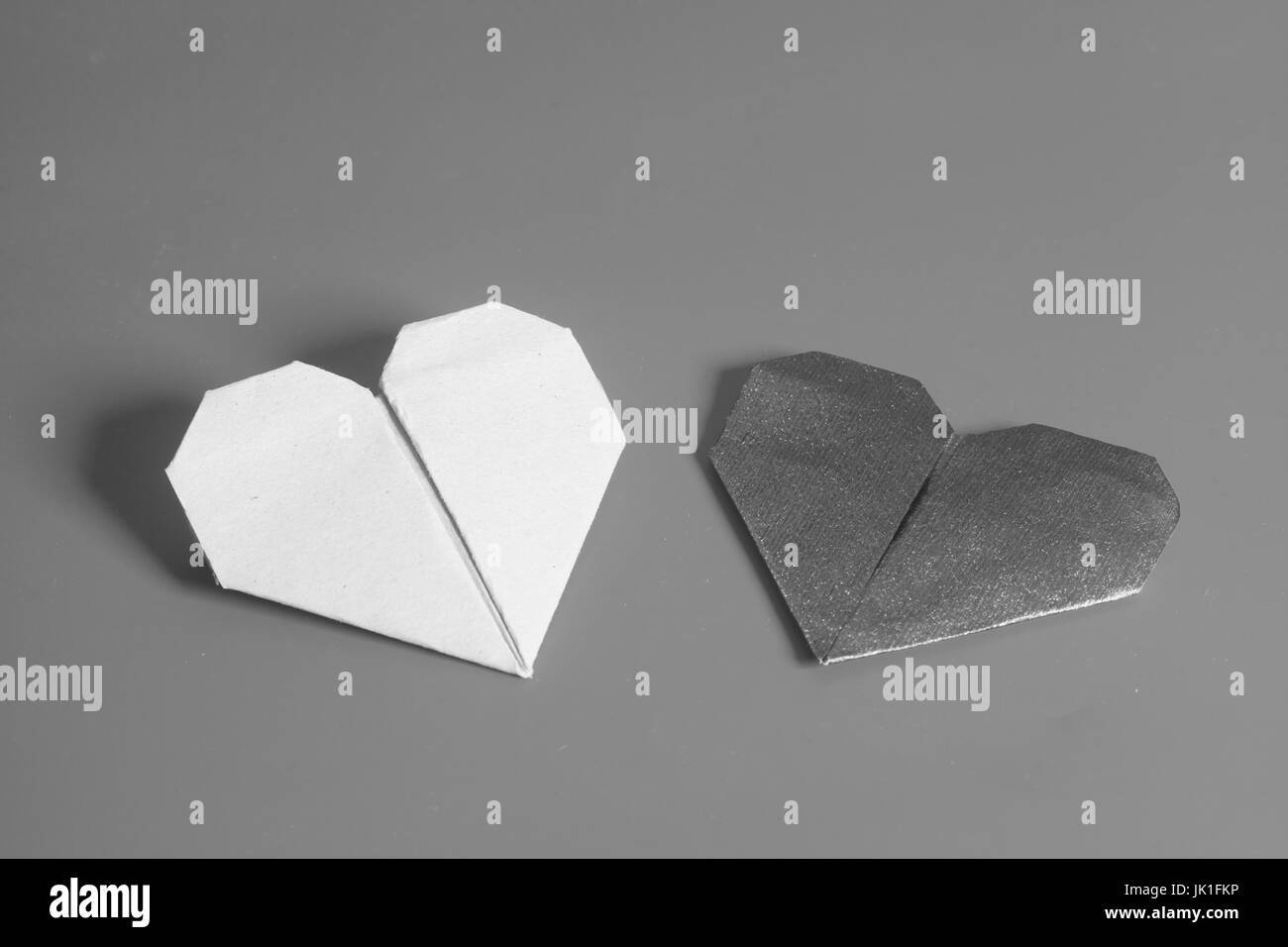 Two Paper Hearts Valentines Day Origami Monochrome Stock Photo