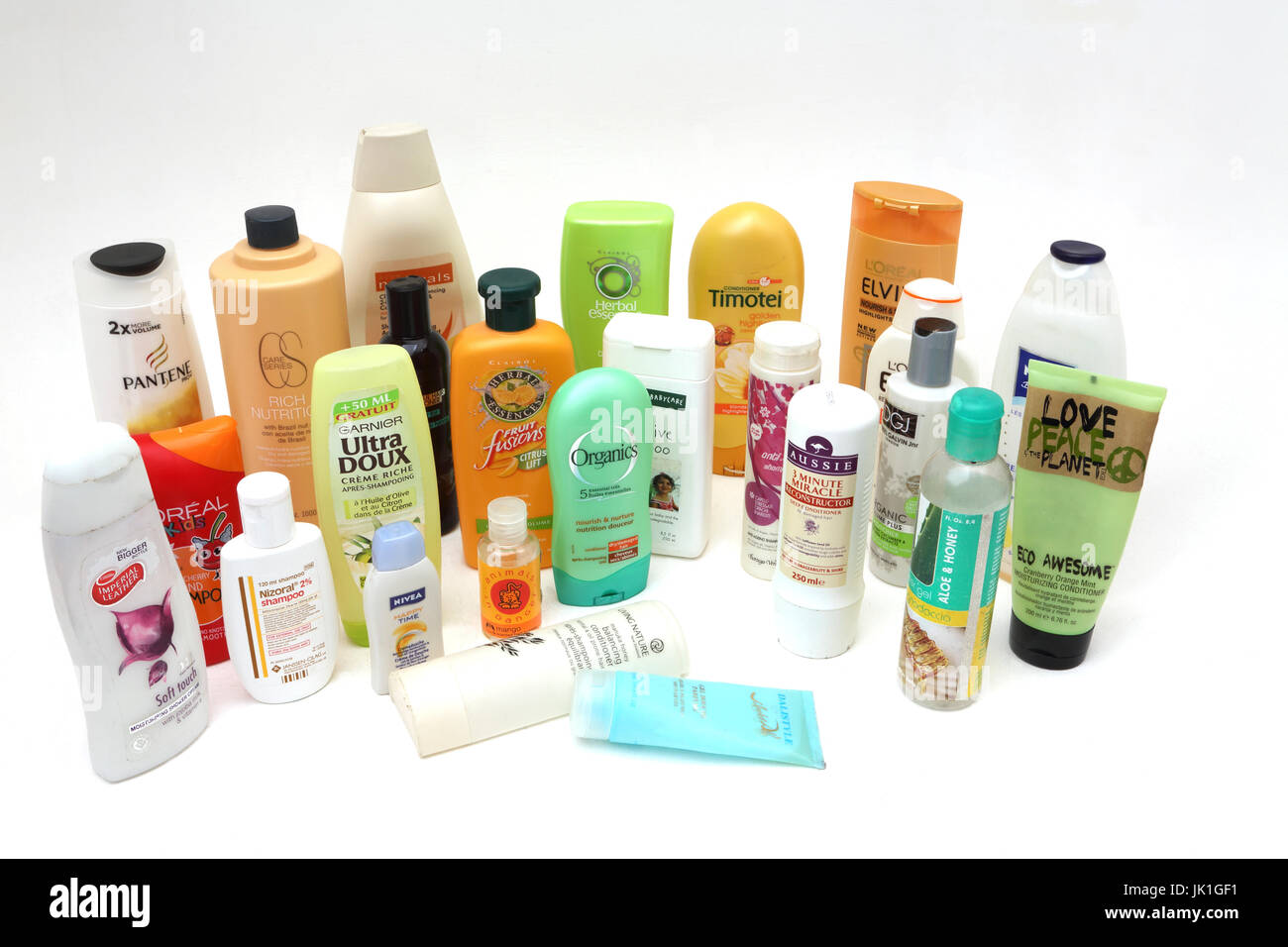 A Collection of Shampoo, Conditioners, Shower Gels and Bubble Bath - Stock Image
