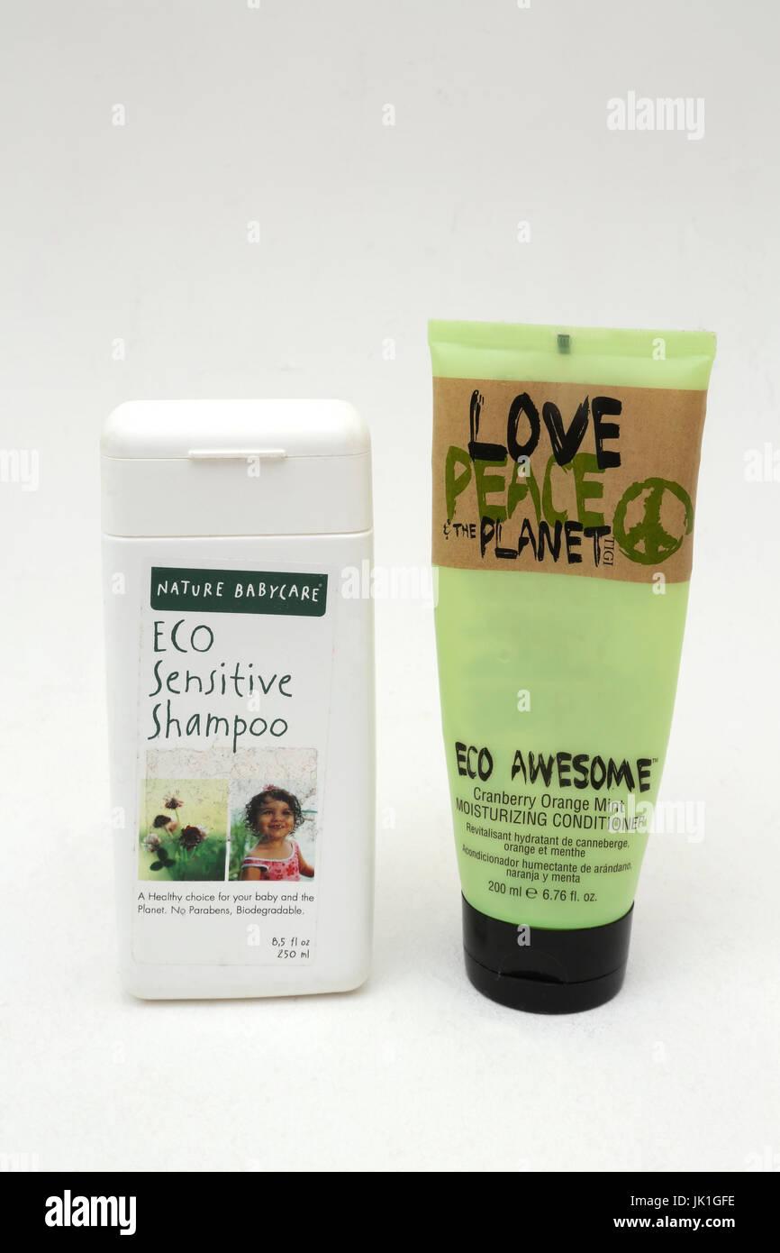 Eco Sensitive Shampoo for Babies and Tigi Love,Peace The Planet Eco Awsome Conditioner - Stock Image
