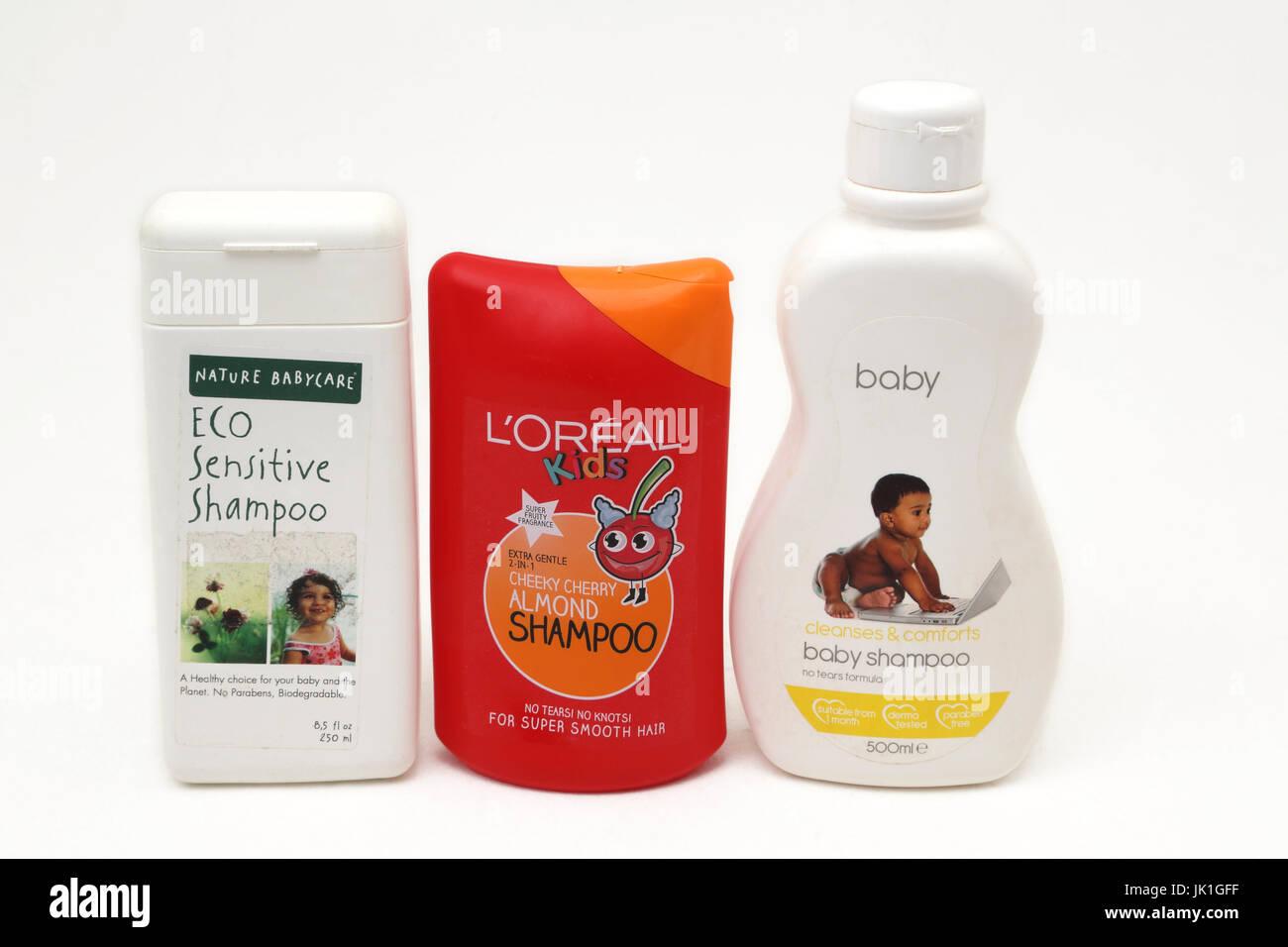 Three different Baby Shampoo Bottles - Stock Image