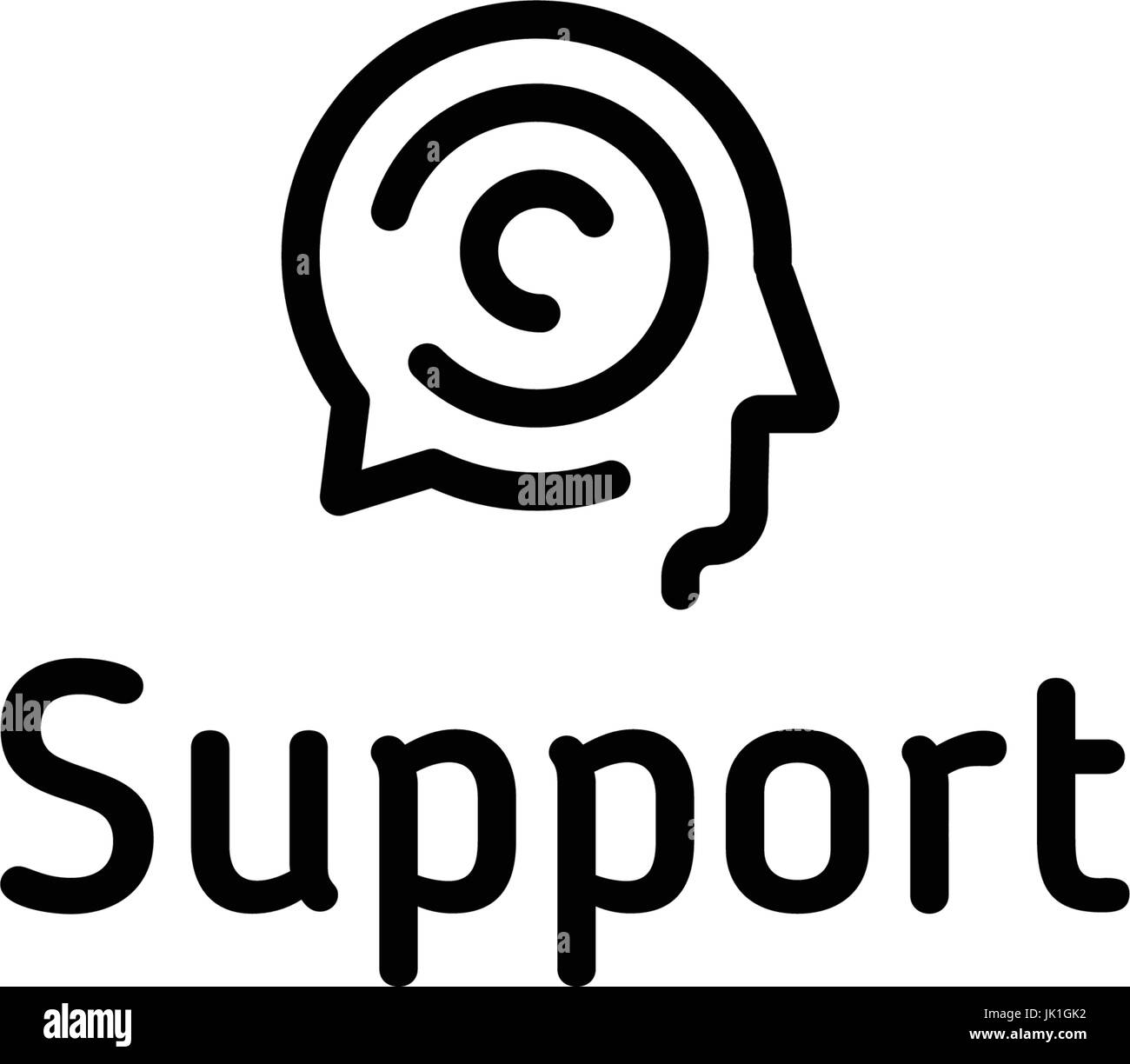 Support vector logo. Linear speech chat icon. Brain storm design concept. - Stock Image