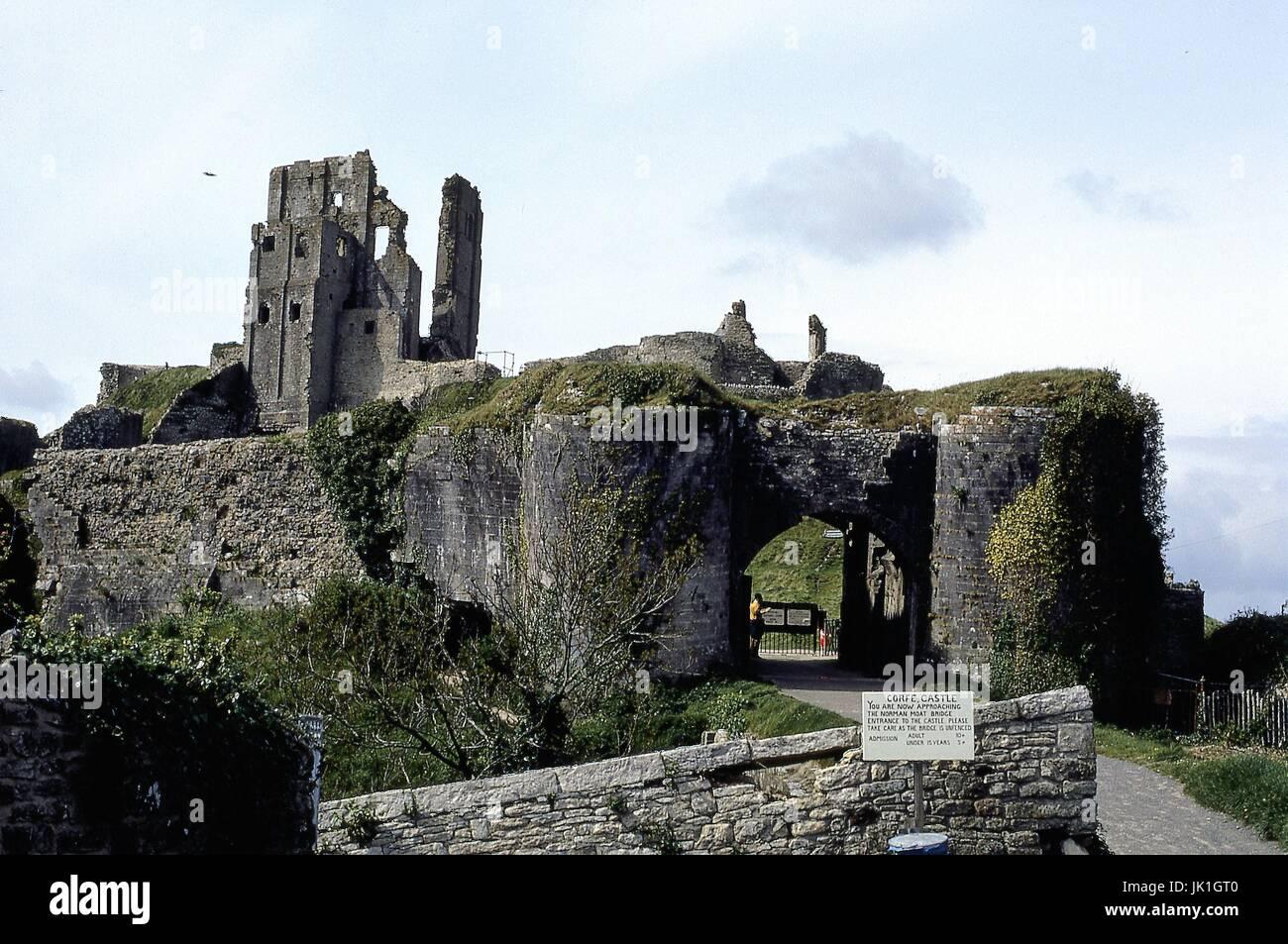 Corfe Castle, Dorset 1973 - Stock Image