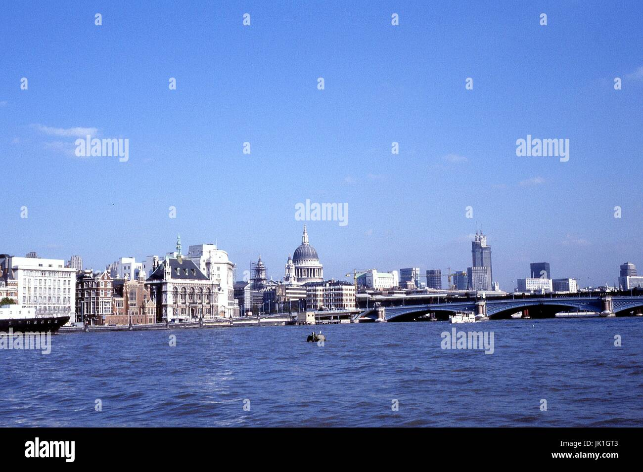 London from the River Thames 1977 - Stock Image