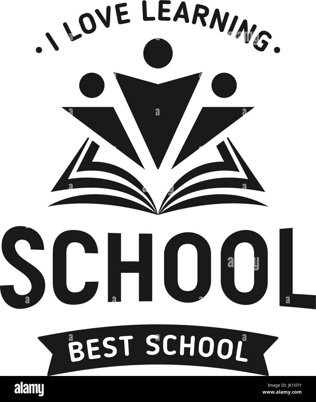 School logo vector. Monochrome vintage style design educational learning sign. Back to school, university, college - Stock Image