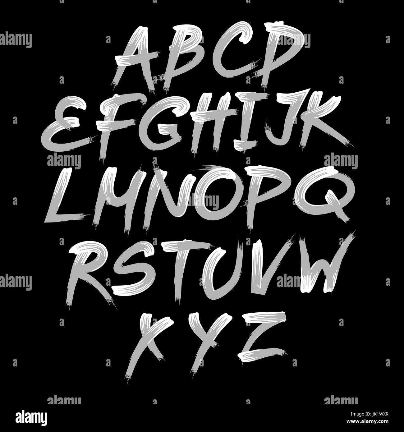Vector alphabet. Hand drawn letters. Letters of the alphabet written with a brush. - Stock Image