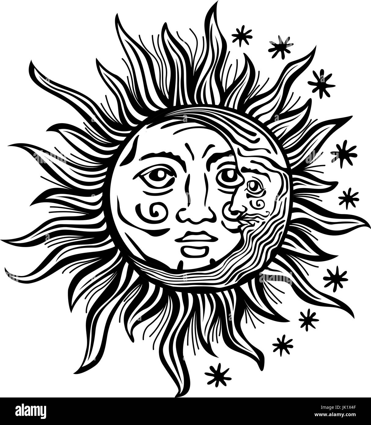 An Etched Style Cartoon Illustration Of A Sun Moon And Star With Human Faces Outlines Are Solid Black Transparent Background For Easy Re Col