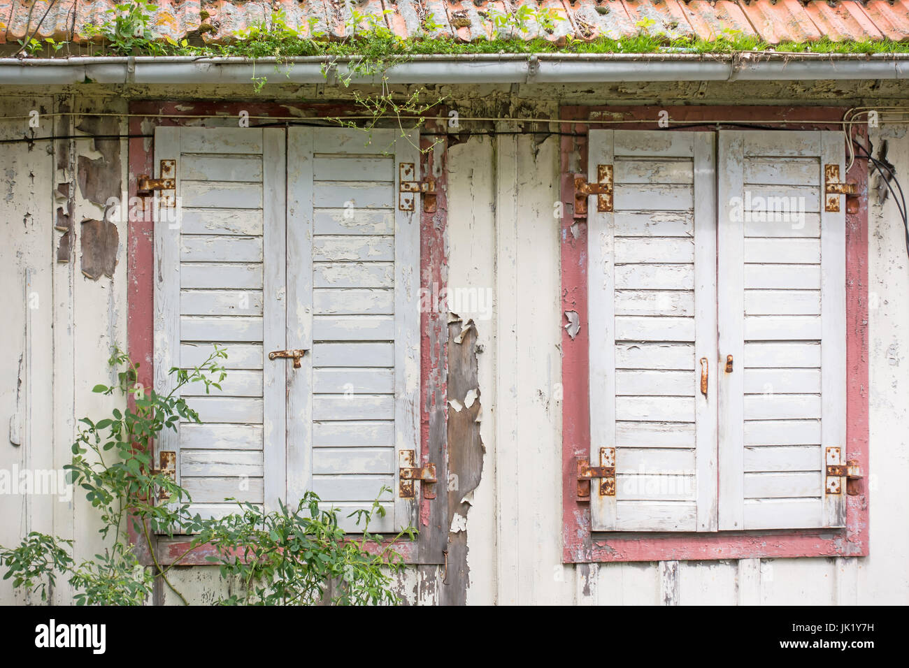 Windows with window shutters of an decayed house - Stock Image