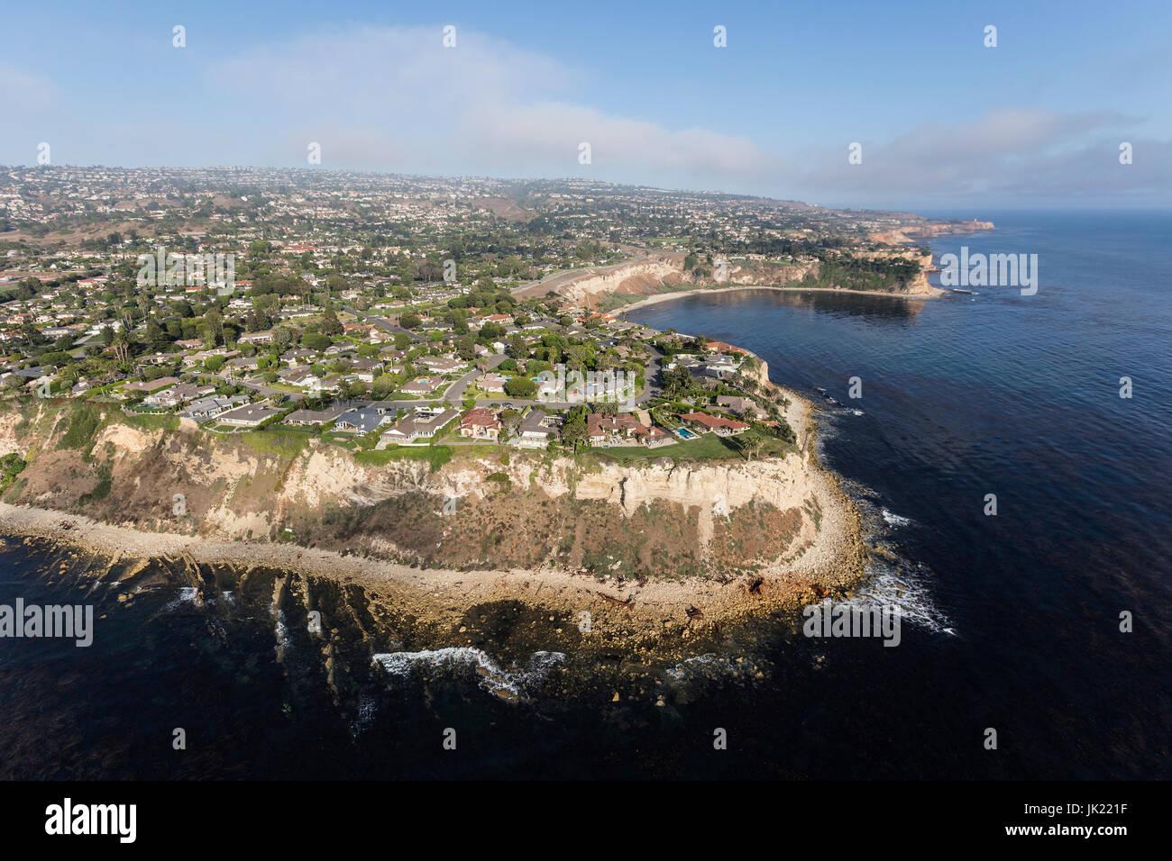 Aerial view of the Rancho Palos Verdes shoreline in Los Angeles County, California. Stock Photo