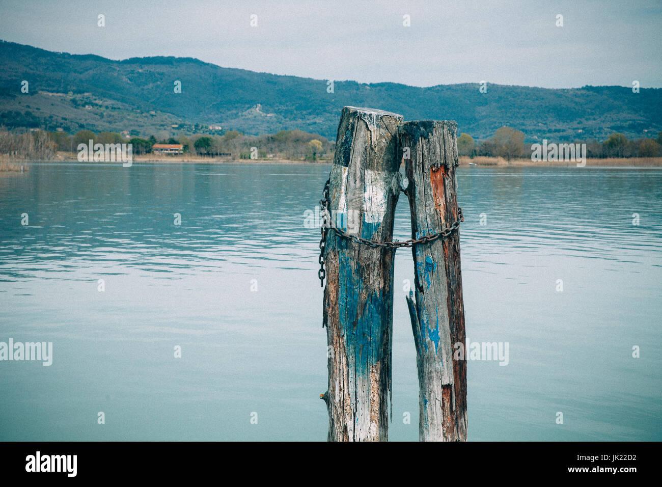 Wooden Pillars At The Lake Timeless Love Symbol Stock Photo