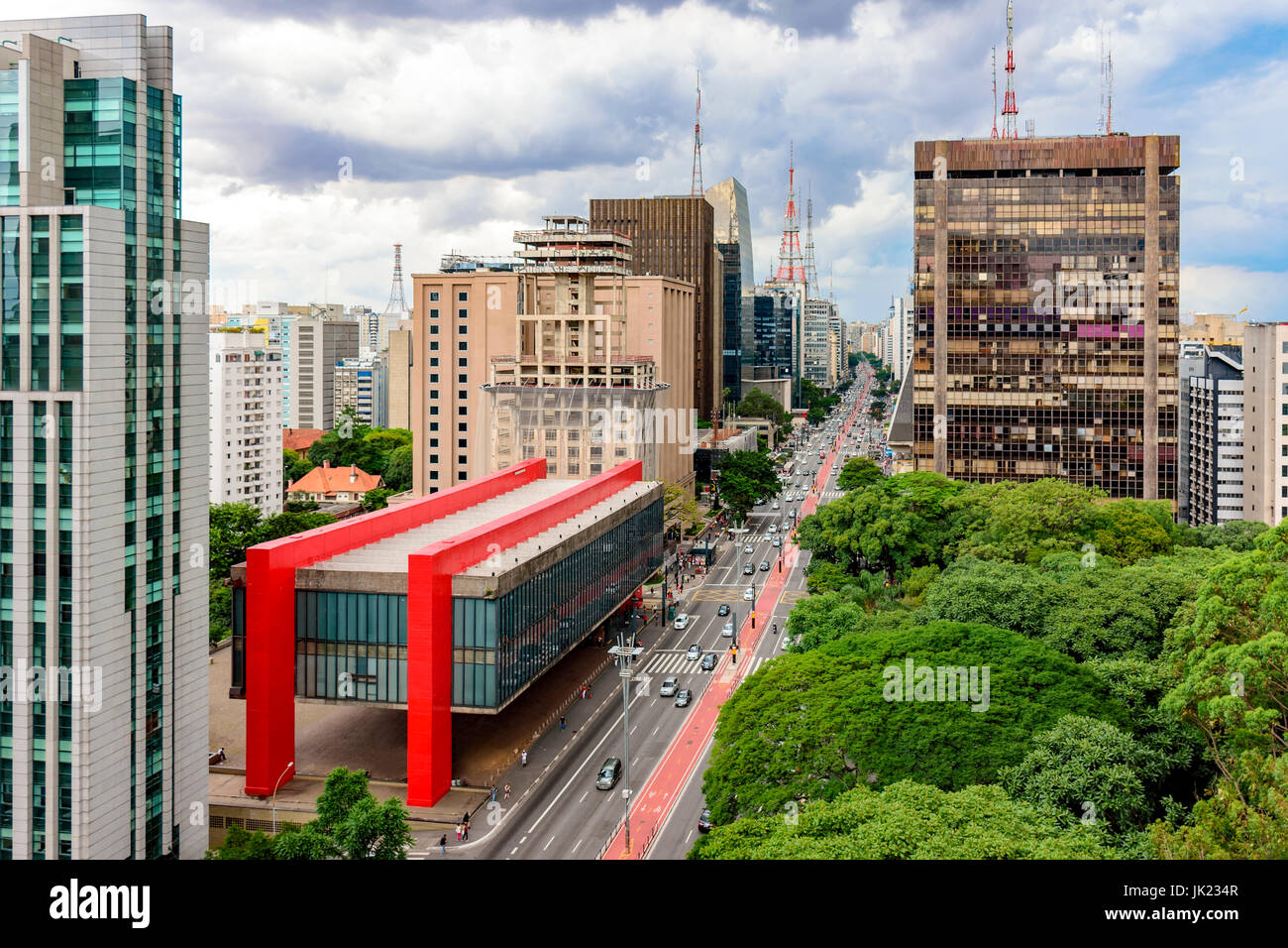 Avenida Paulista Financial Center Of Sao Paulo And Brazil And The Masp Seen From Above With Its Commercial Buildings And Intense Movement Of People A