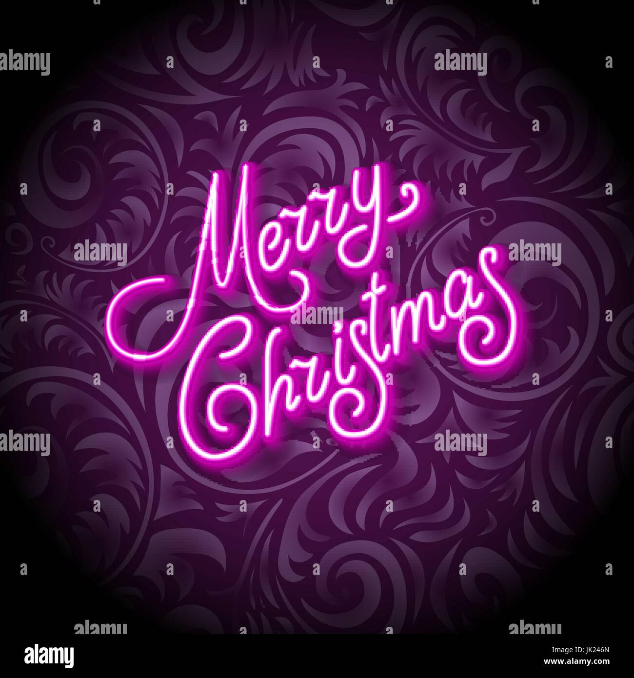 merry christmas card with neon color and bokeh lighting background JK246N