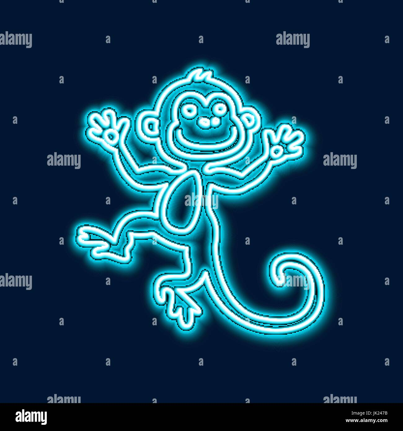 vector illustration of 2016 new year outline neon light background for design website banner holiday party element template chinese horoscope monk