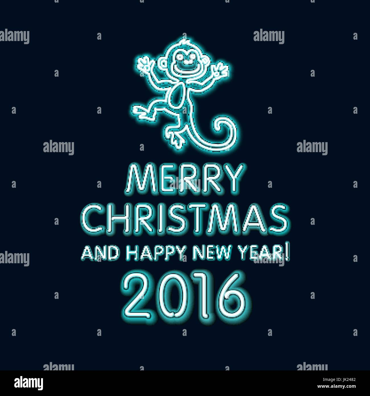 vector illustration of 2016 new year outline neon light background for design website banner holiday party element template christmas tree toy mon