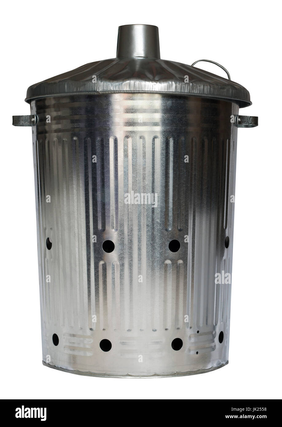 Galvanised incinerator gardening dustbin on an isolated white background with a clipping path - Stock Image