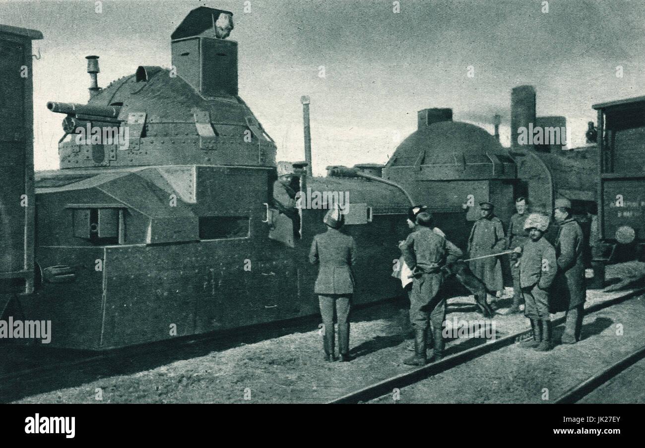 White Russians armoured train in Siberia - Stock Image