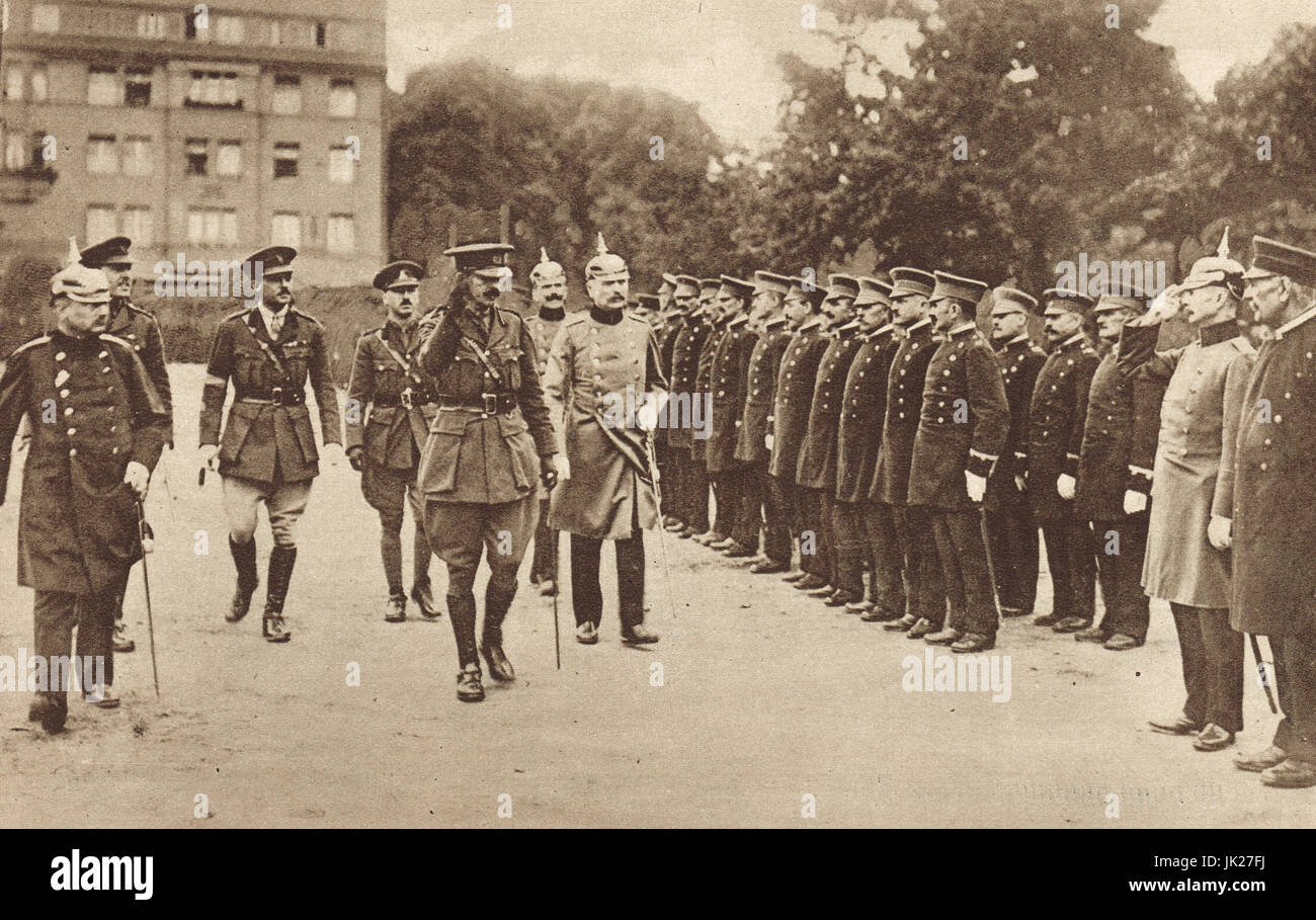 General Rogers inspecting Cologne police, 1919 - Stock Image