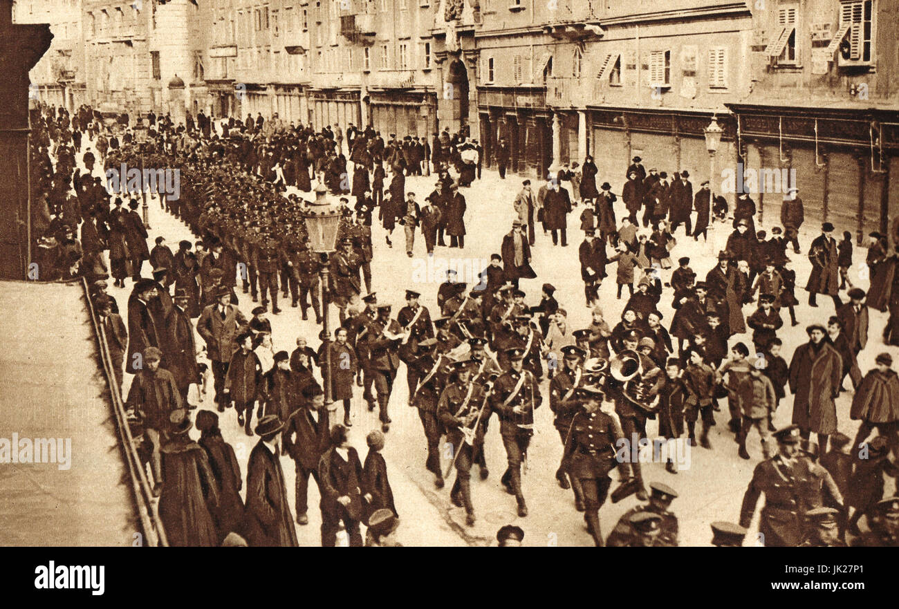 Church parade of British troops in Rijeka (then Fiume), 1919 - Stock Image