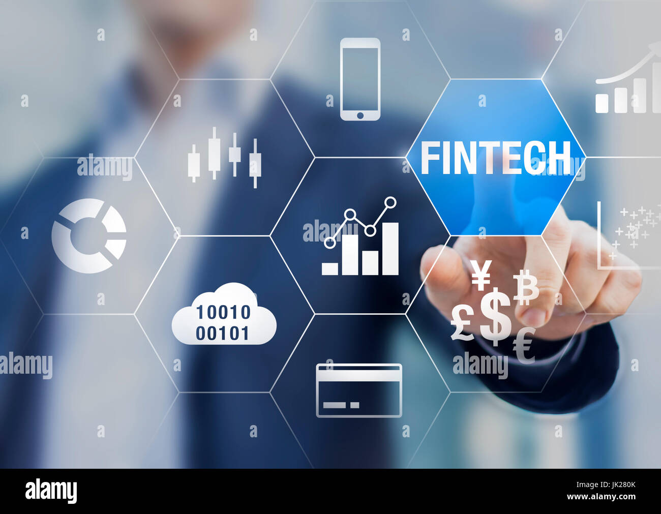 Businessman using fintech (financial technology) with connected icons of business intelligence (BI) charts, cloud - Stock Image