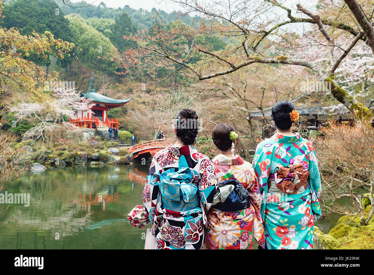 Young three girl wearing Japan kimono standing in front of Daigoji Temple in Kyoto, Japan. - Stock Image