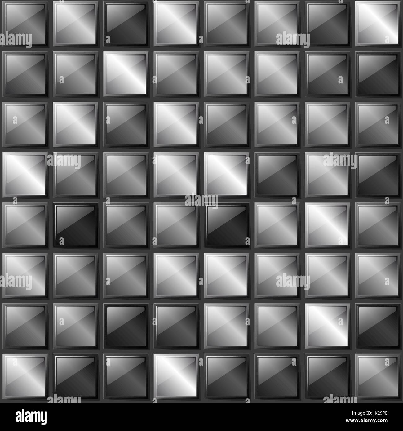 Checkers metal background of polished metal plates of different shades. Production, plant or factory. Black and - Stock Vector