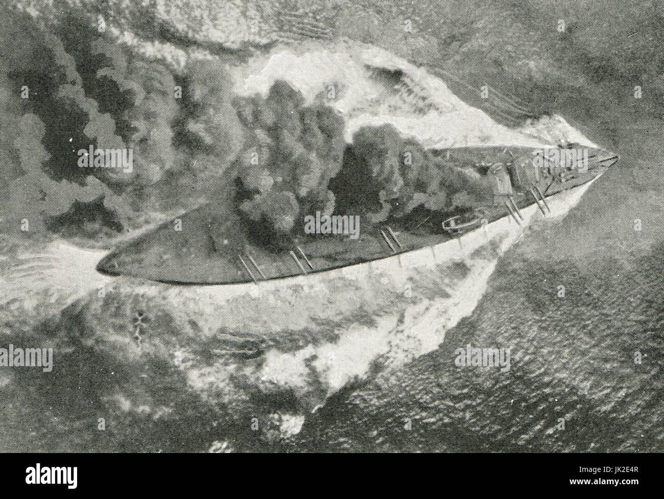 Smokescreen seen from a Kite Balloon above HMS Erin - Stock Image