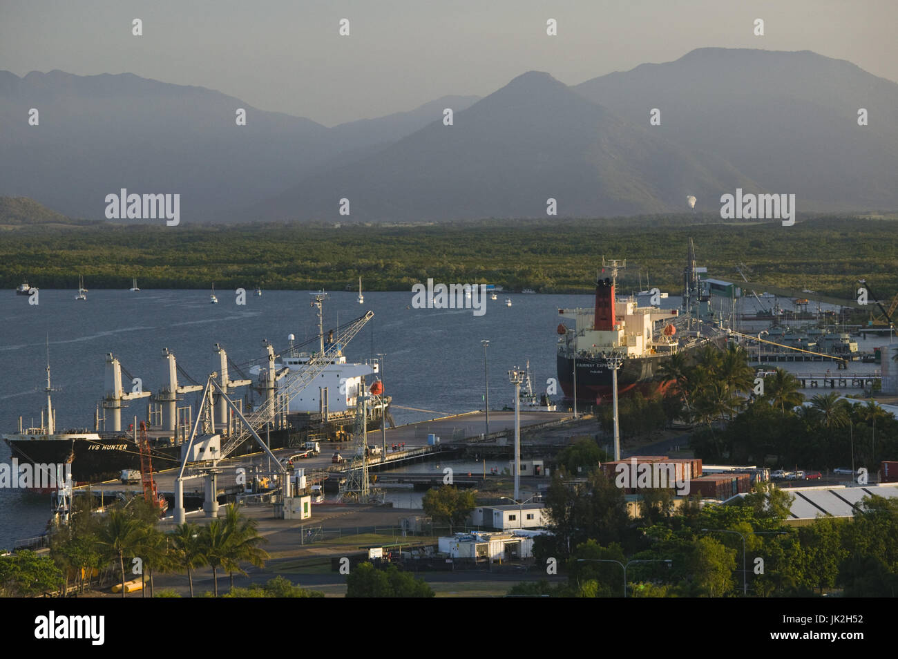 Australia, Queensland, North Coast, Cairns, Aerial View of the Port of Cairns, Stock Photo