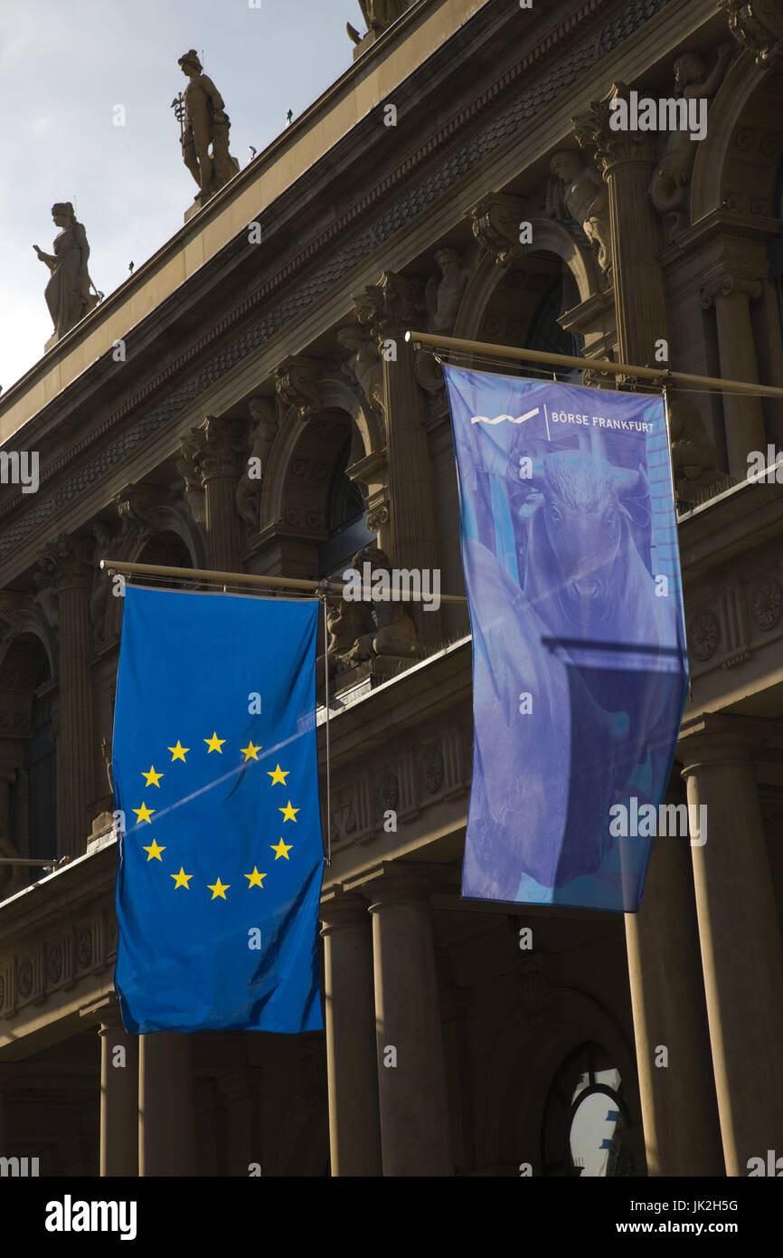 Germany, Hessen, Frankfurt am Main, Börsenplatz, European Union flags on the Börse stock exchange, - Stock Image