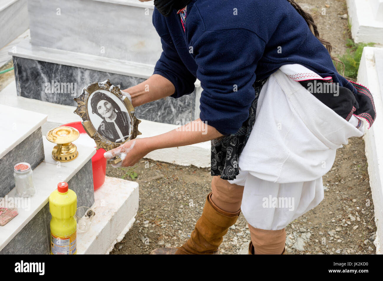 Greece, Aegean Islands, Olympos, Karpathos island,  Cleaning of the cemetery and tombs before Easter Stock Photo