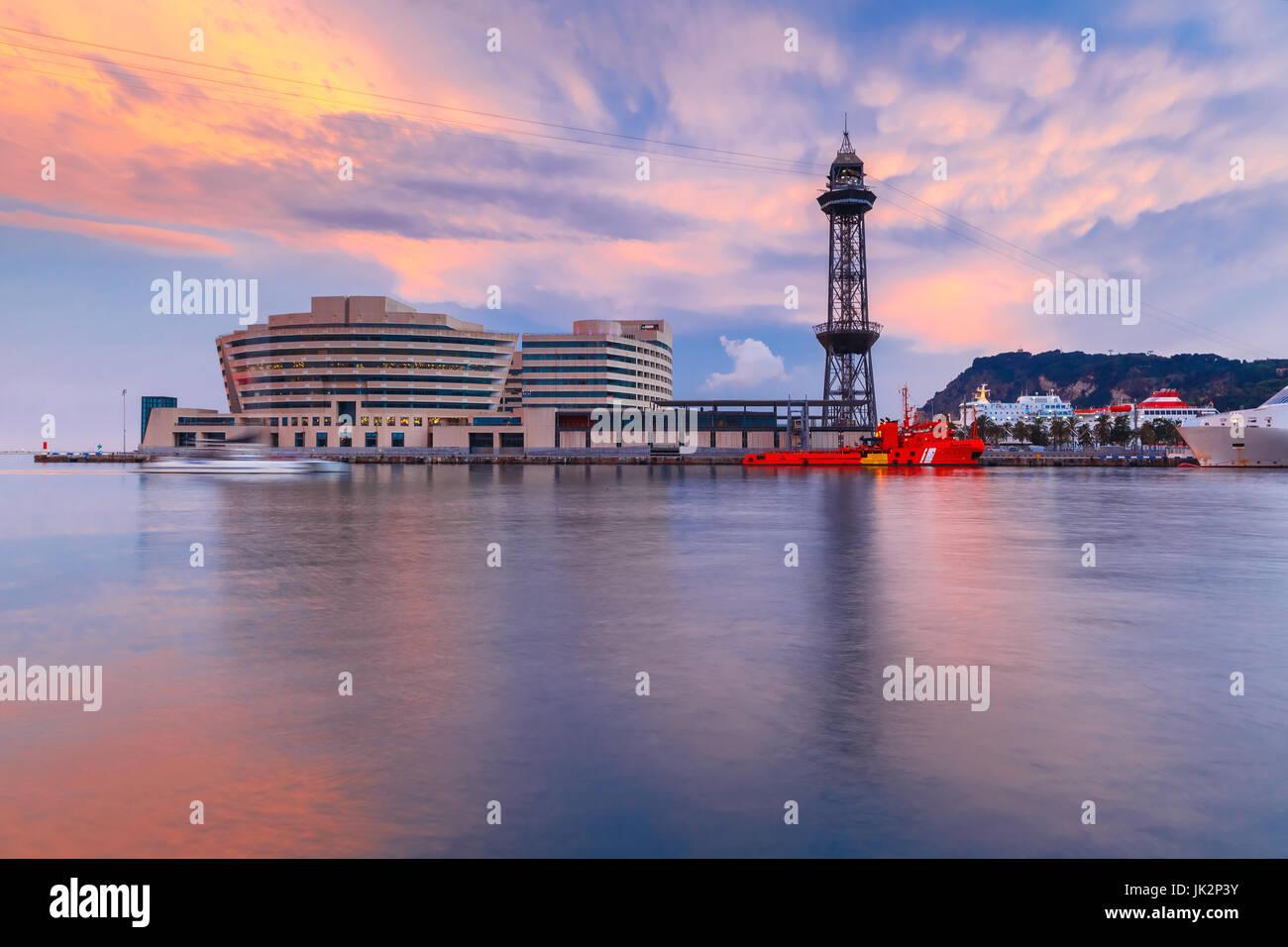 Superb sunset in Port Vell in Barcelona, Spain - Stock Image