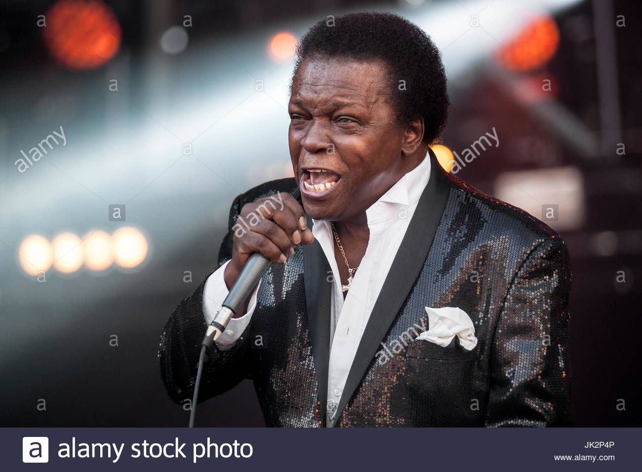 Lee Fields and the Expressions performing live at Musilac summer festival in Aix-les-Bains (France). July 14th, - Stock Image
