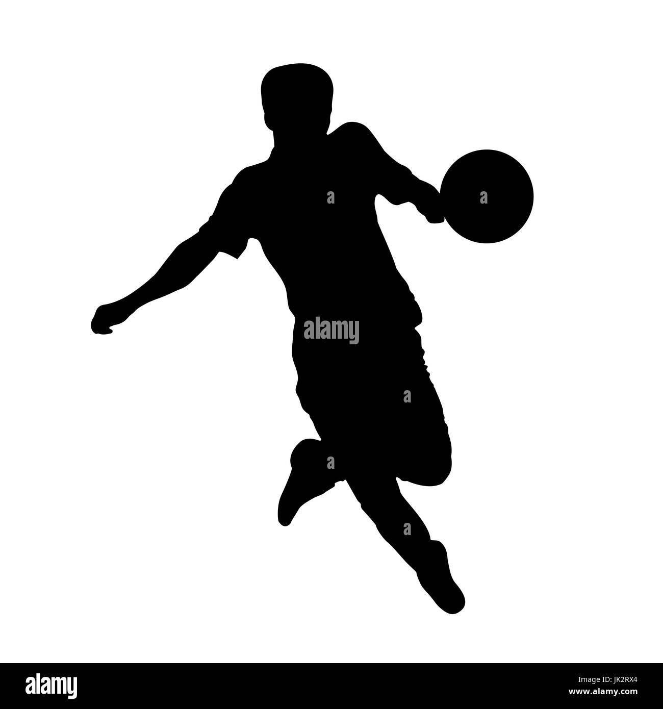 Footballer silhouette. Black football player outline with a ball, running and scoring goal, isolated on white background. Stock Vector