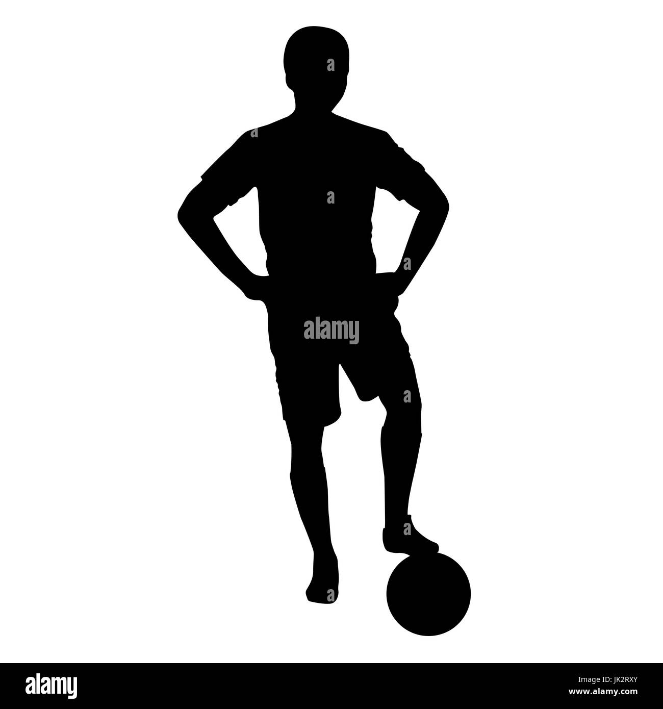 Footballer silhouette. Black football player outline with a ball, isolated on white background. Vector illustration - Stock Vector