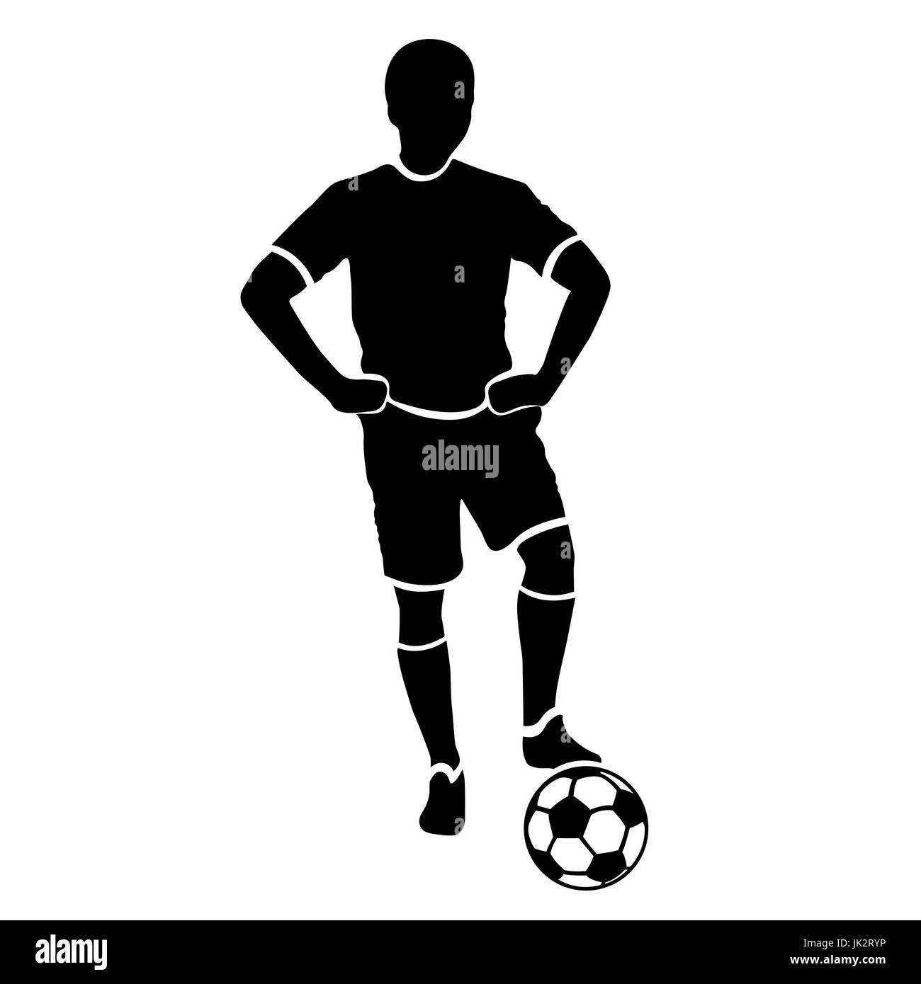 Footballer silhouette. Black football player outline with a ball, isolated on white background - Stock Vector