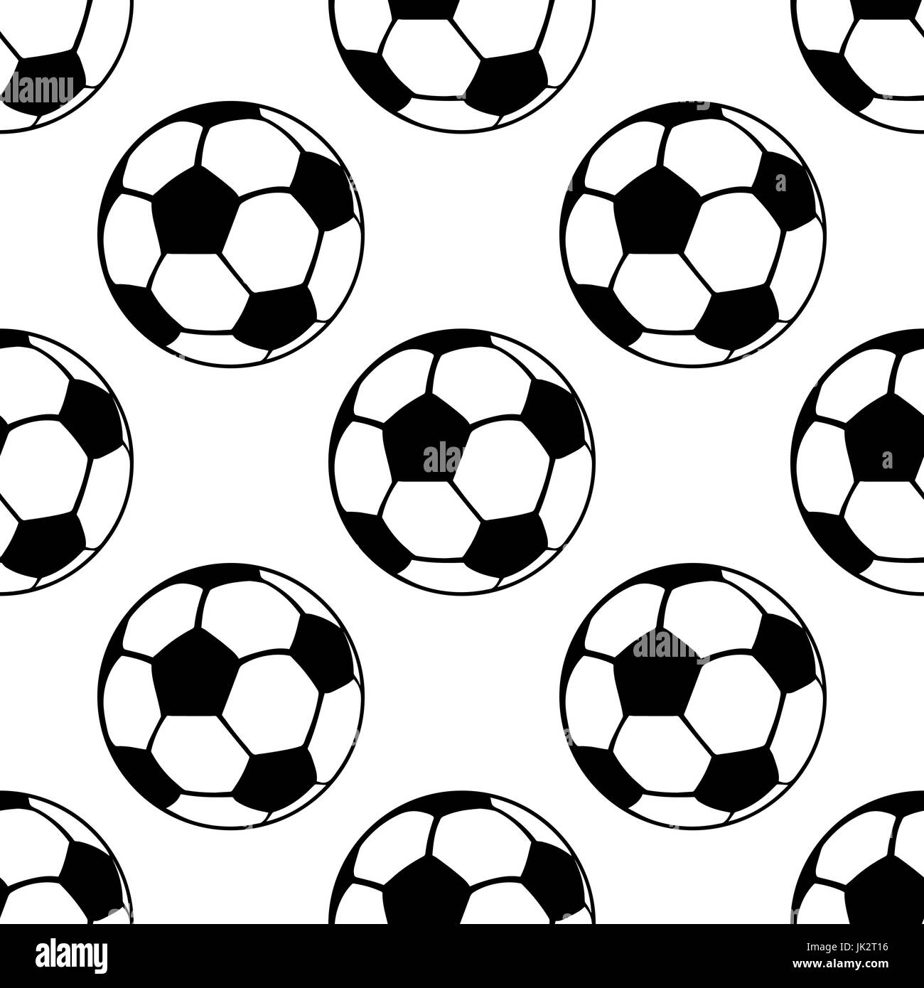 Football balls seamless pattern, vector sport background. Black and white - Stock Vector