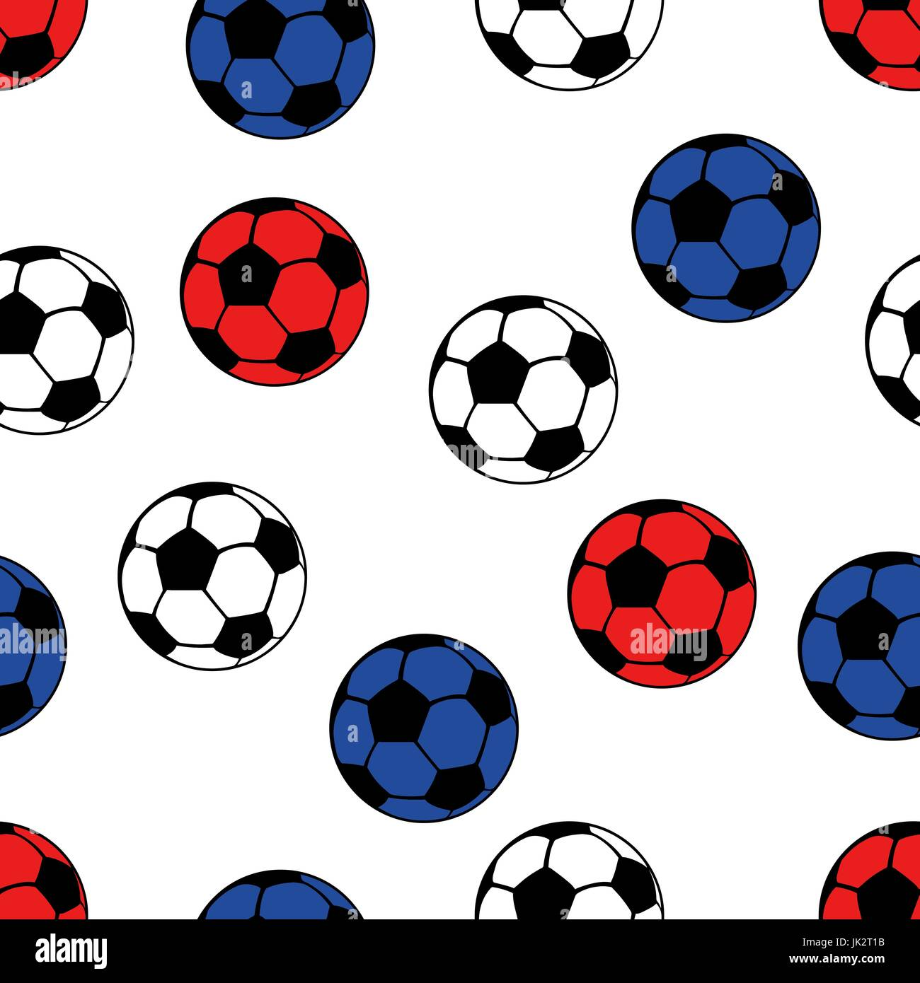 Football balls seamless pattern, vector sport background. White, blue and red balls on a white backdrop - Stock Vector