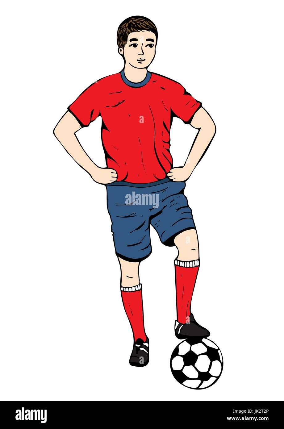 Footballer, vector hand drawing. Football player in a red blue uniform with a ball. Isolated on white background. Stock Vector