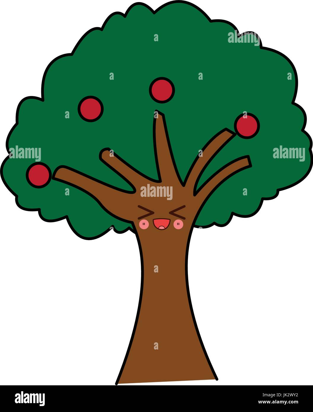 kawaii tree natural foliage branch fruits cartoon - Stock Vector