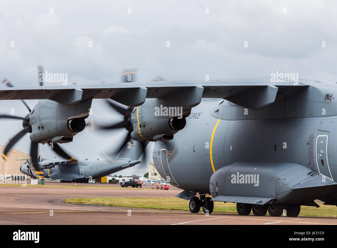 RAF A400M Atlas C.1 taxis onto the static park towards it's German cousin at the 2017 Royal International Air Tattoo Stock Photo