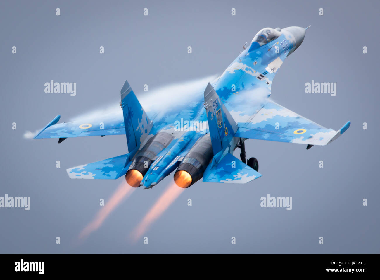 Ex-Russian Soviet Cold War Ukrainian Sukhoi SU-27 Flanker Displays at the Fairford International Air Tattoo 2017 - Stock Image