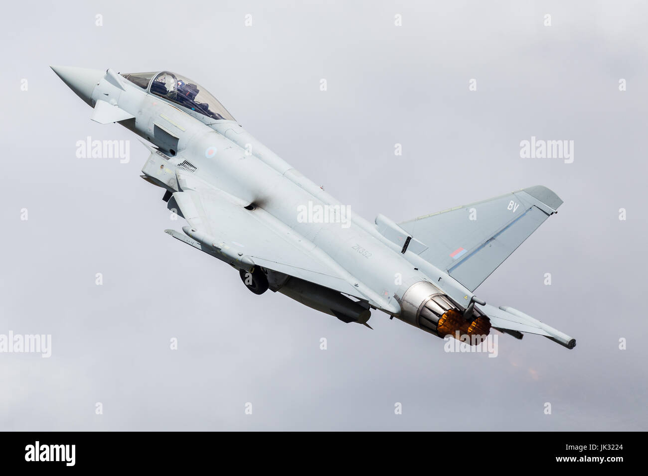 RAF Typhoon FGR.4 climbs into the sky at the 2017 Royal International Air Tattoo at RAF Fairford in Gloucestershire. Stock Photo