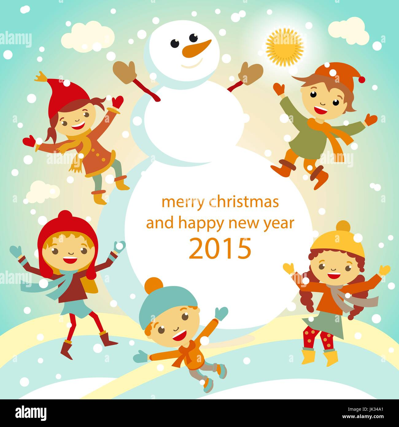 winter kids merry christmas and happy new year art
