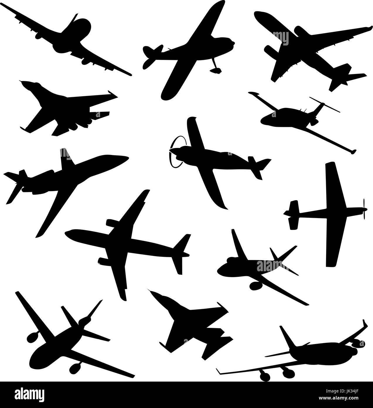 Big collection of different airplane silhouettes. vector plane - Stock Image