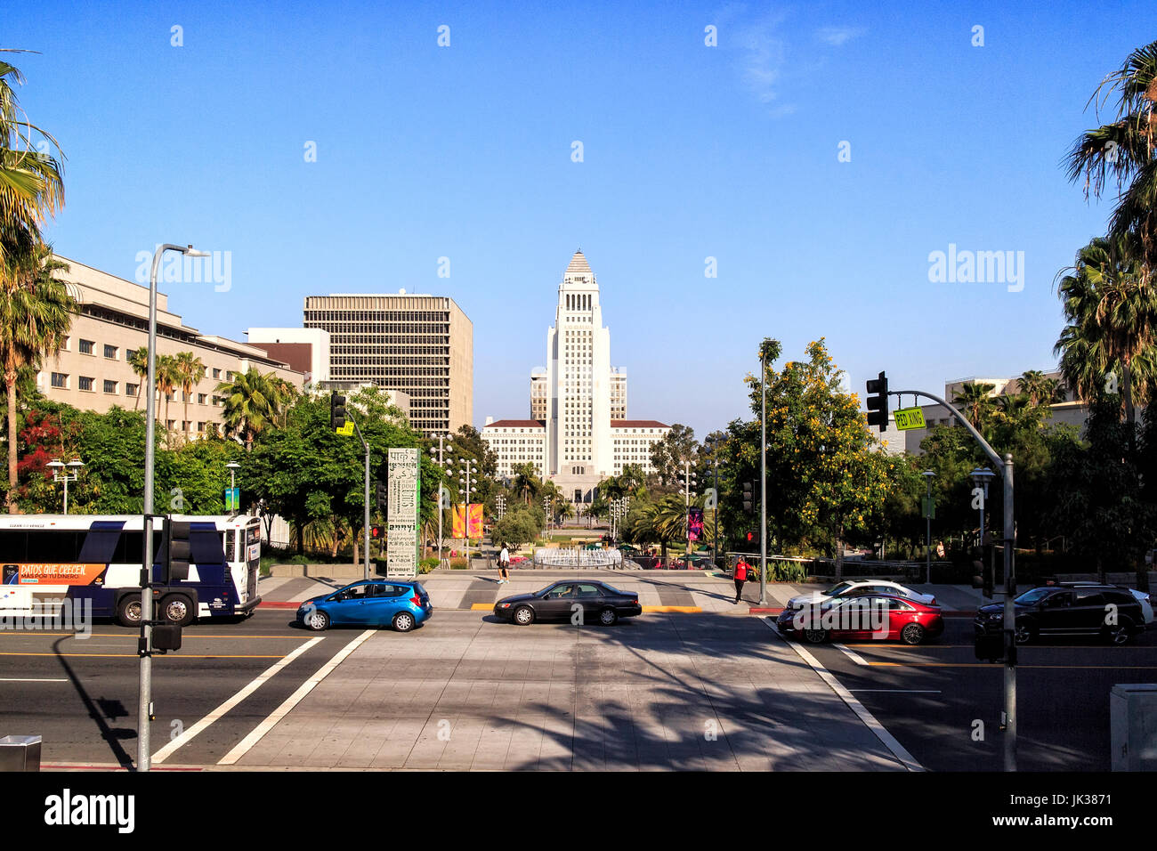 Los Angeles City Hall, Downtown LA, California - Stock Image