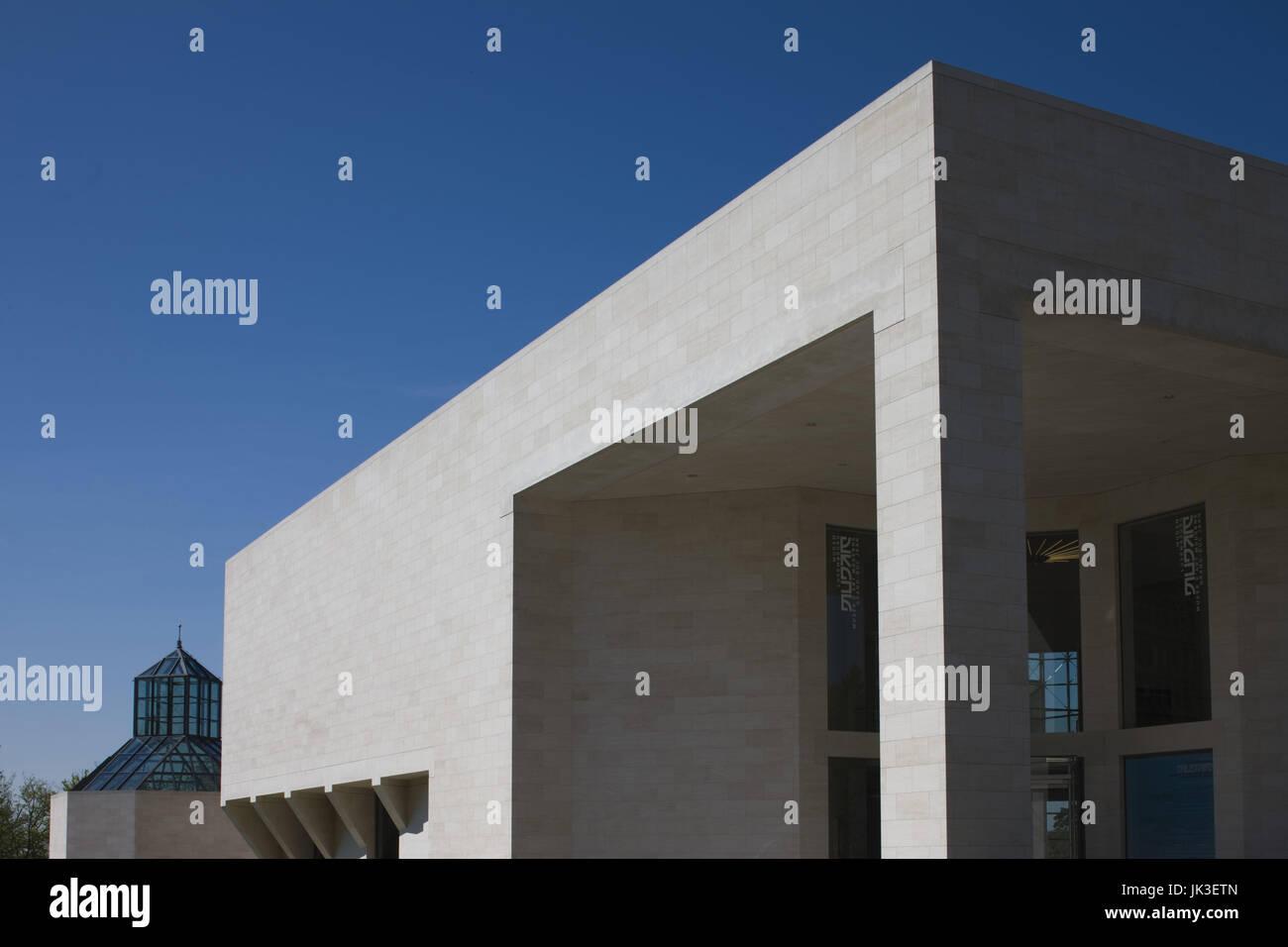 Luxembourg, Luxembourg City, Plateau de Kirchberg, Musee d' Art Moderne Grand-Duc Jean, modern art museum, Stock Photo