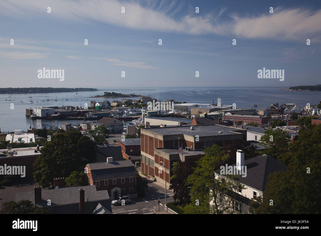 USA, Massachusetts, Cape Ann, Gloucester, town and port view from Gloucester City Hall - Stock Image